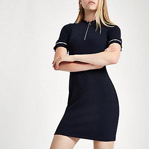 Mini robe moulante côtelée bleu marine zippée sur le devant