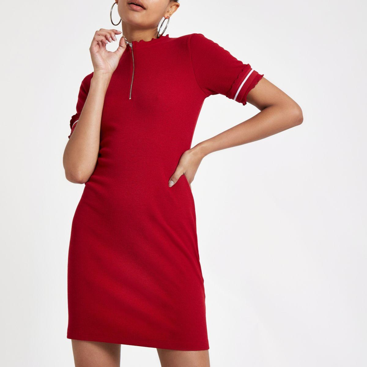 Red rib zip front Bodycon mini dress