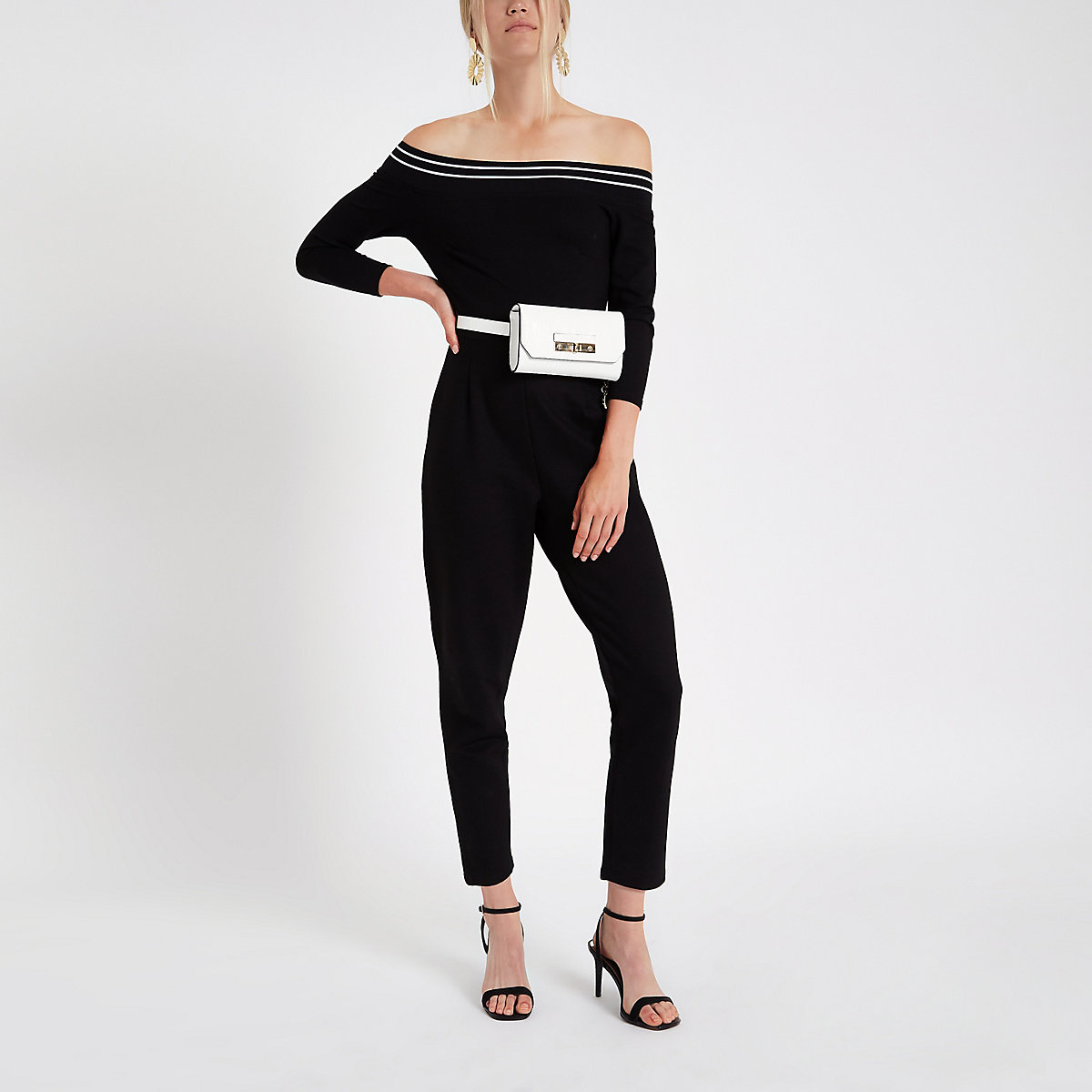 Black bardot tape trim jumpsuit