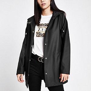 Black waterproof hooded rain mac