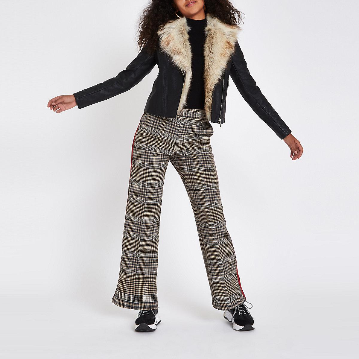 fd57cc5cb Black faux fur trim biker jacket - Jackets - Coats   Jackets - women