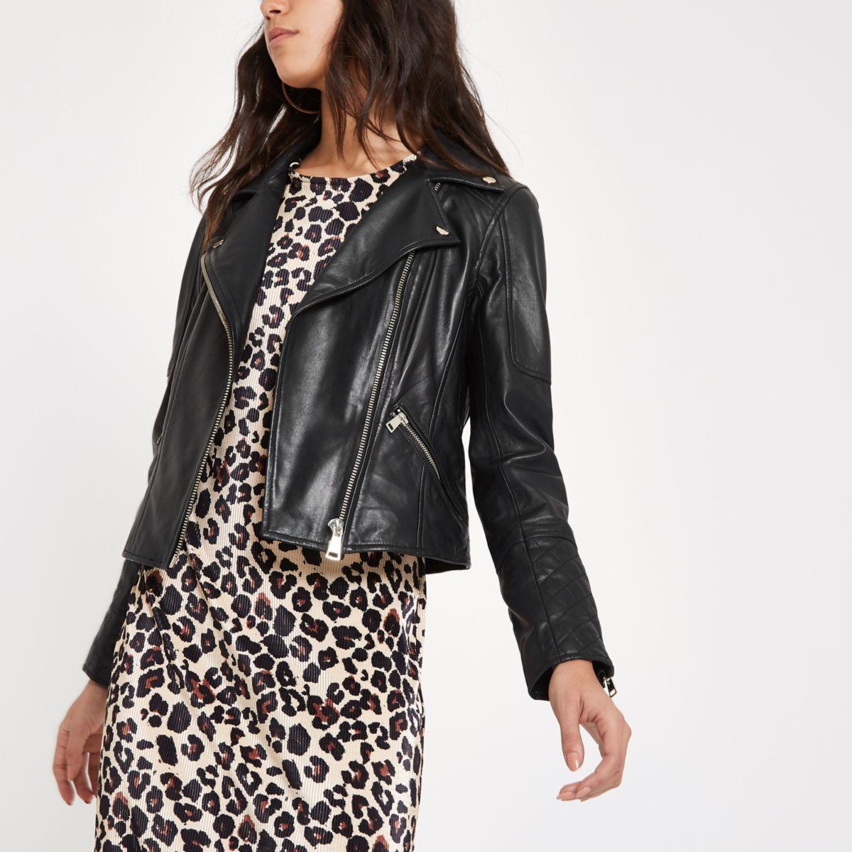 Black leather fitted biker jacket