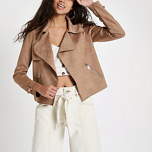 Light brown faux suede cropped trench jacket