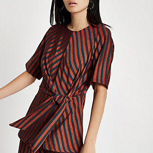 Brown stripe twist front top