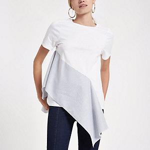 T-shirt rayé blanc à volants