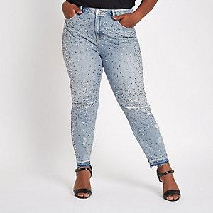 Plus – Alannah – Blaue, verzierte Jeans