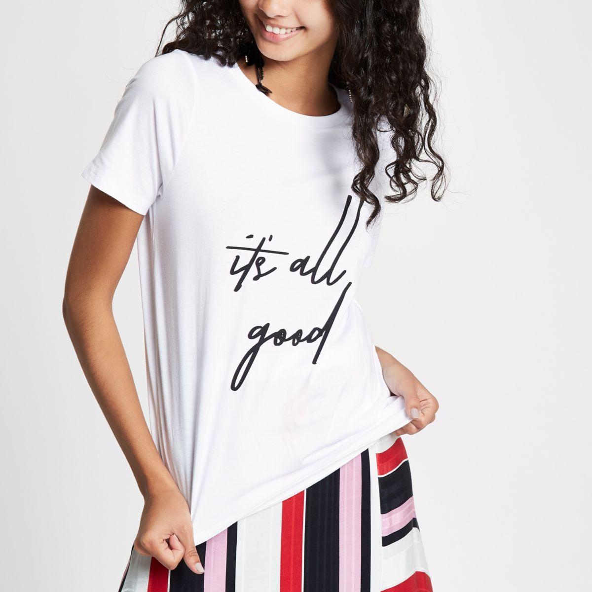 White 'it's all good' print T-shirt