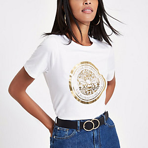 White bee foil print boyfriend T-shirt