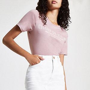 """Rosa T-Shirt mit """"Champ-de-fleurs""""-Print"""