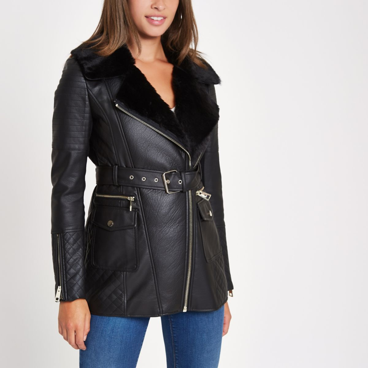 Black faux leather belted coat