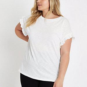 Plus – Weißes T-Shirt mit Rüschenärmeln