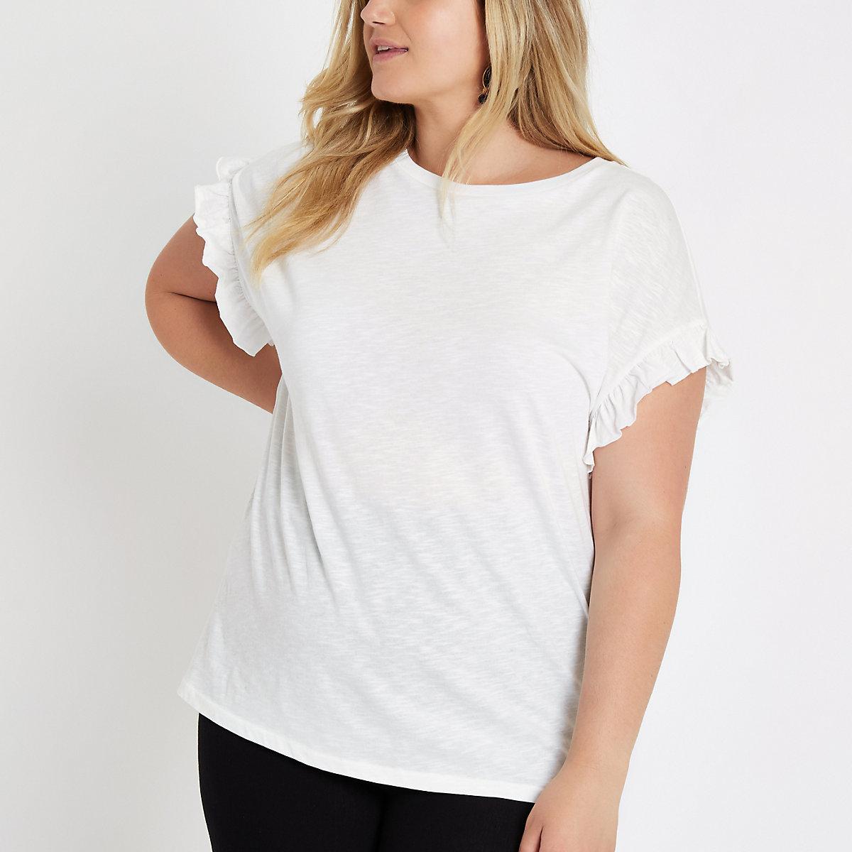 RI Plus - Wit T-shirt met ruches aan de mouwen