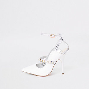 White pearl pointed toe strappy court shoes