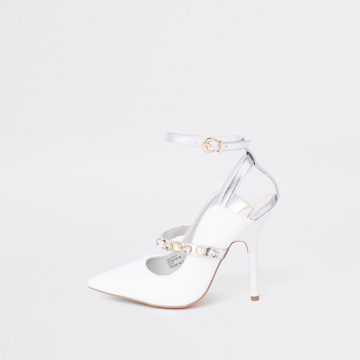 White pearl pointed toe strappy pumps