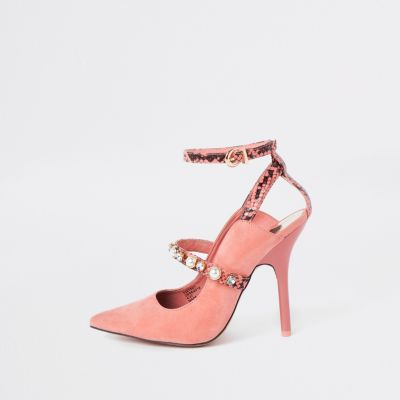Pink Pearl Pointed Toe Strappy Court Shoes by River Island