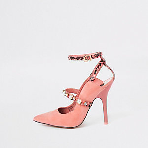 Pink pearl pointed toe strappy court shoes
