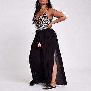 Plus black wide split leg beach trousers
