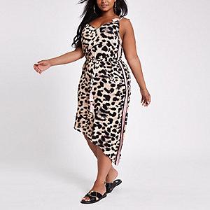 Plus – Braunes Strandkleid mit Leopardenmuster