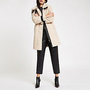 Cream oversized shearling fur aviator coat