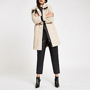 Cream oversized shearling fur aviator coat
