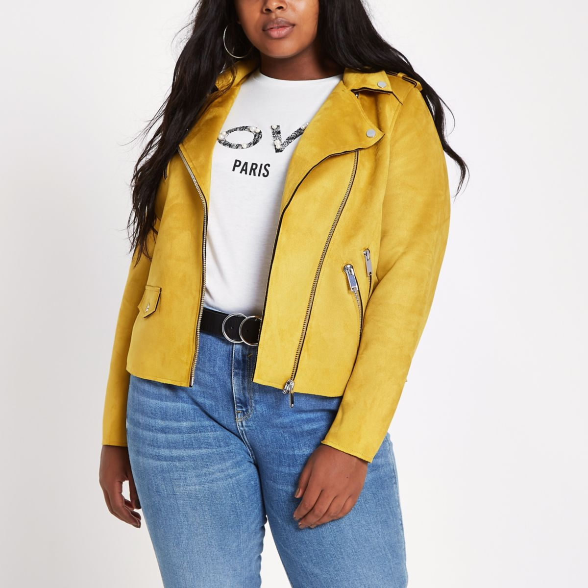 Plus yellow biker jacket
