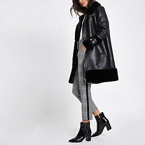 Black faux leather oversized aviator jacket