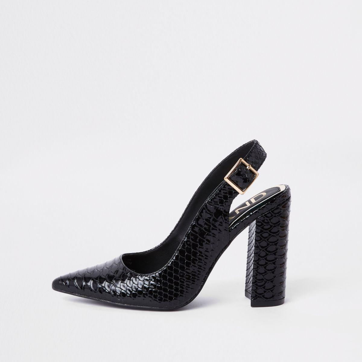 Black croc block heel sling back pumps