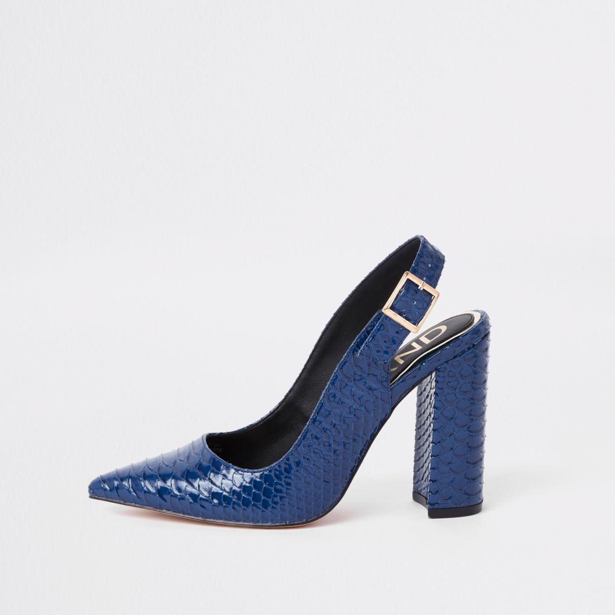Blue croc block heel sling back court shoes