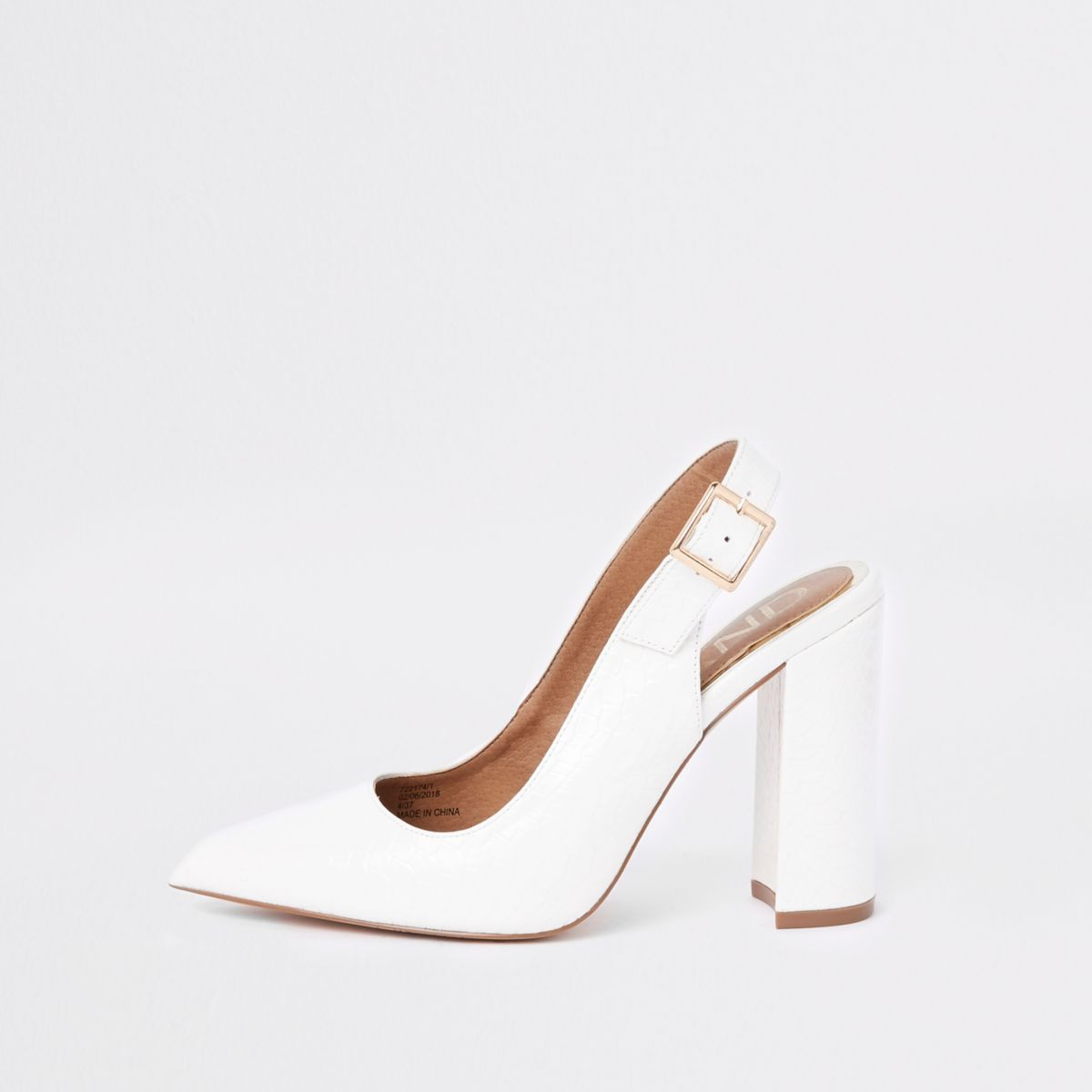 White croc embossed sling back pumps