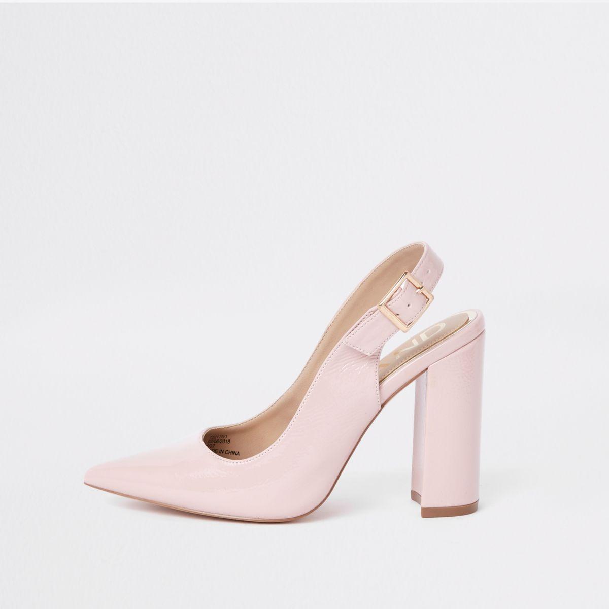 Pink block heel sling back court shoes