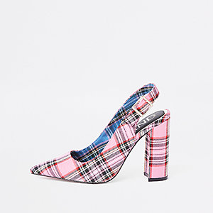 Pink plaid block heel sling back pumps