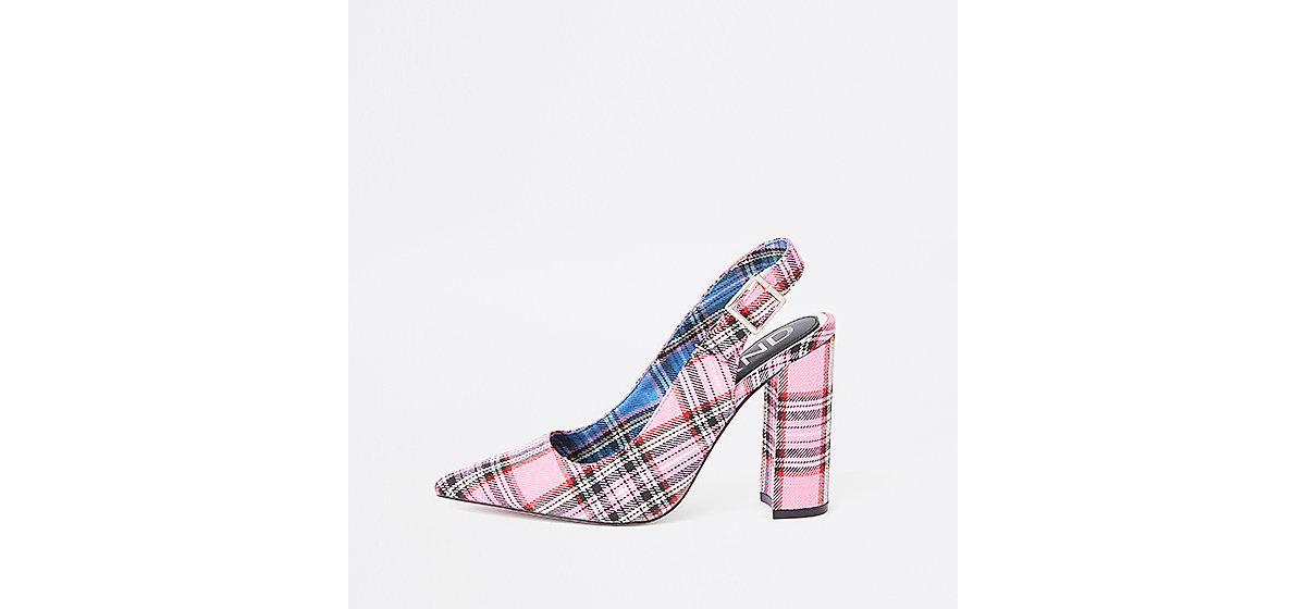 Pink plaid block heel sling back pumps