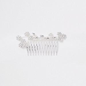 Silver tone floral hair slide
