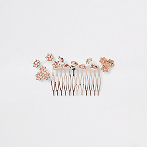 Barrette à cheveux ton or rose motifs fleurs
