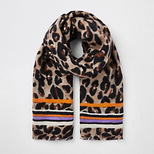 Brown leopard and stripe print scarf