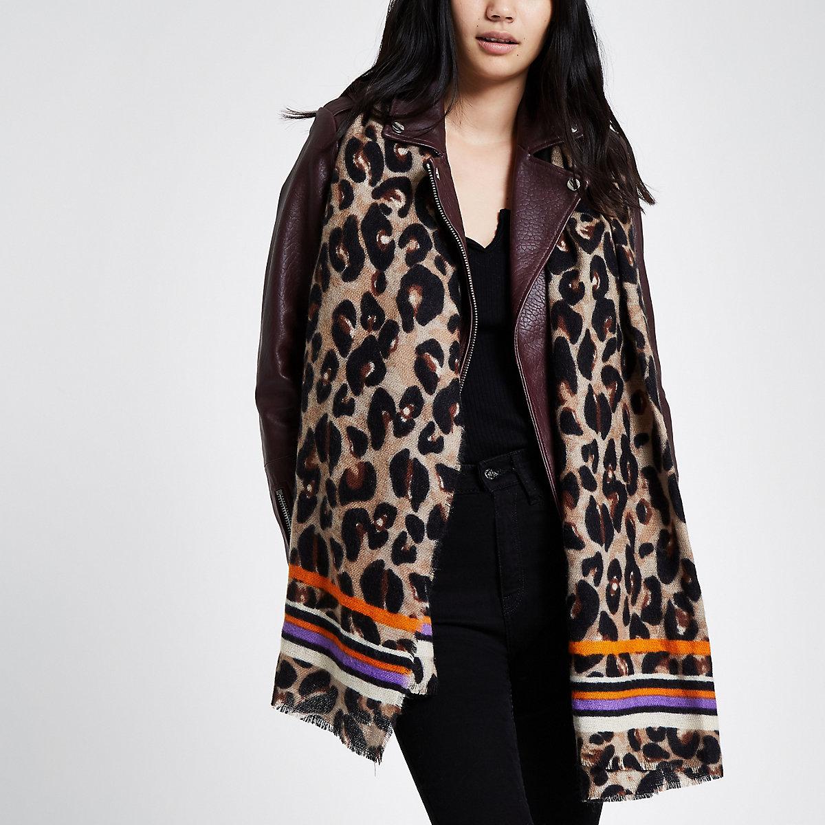 Foulard motif léopard rayé marron - Écharpes - Accessoires - Femme a6e187d8abe