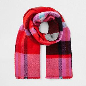 Pink check print scarf