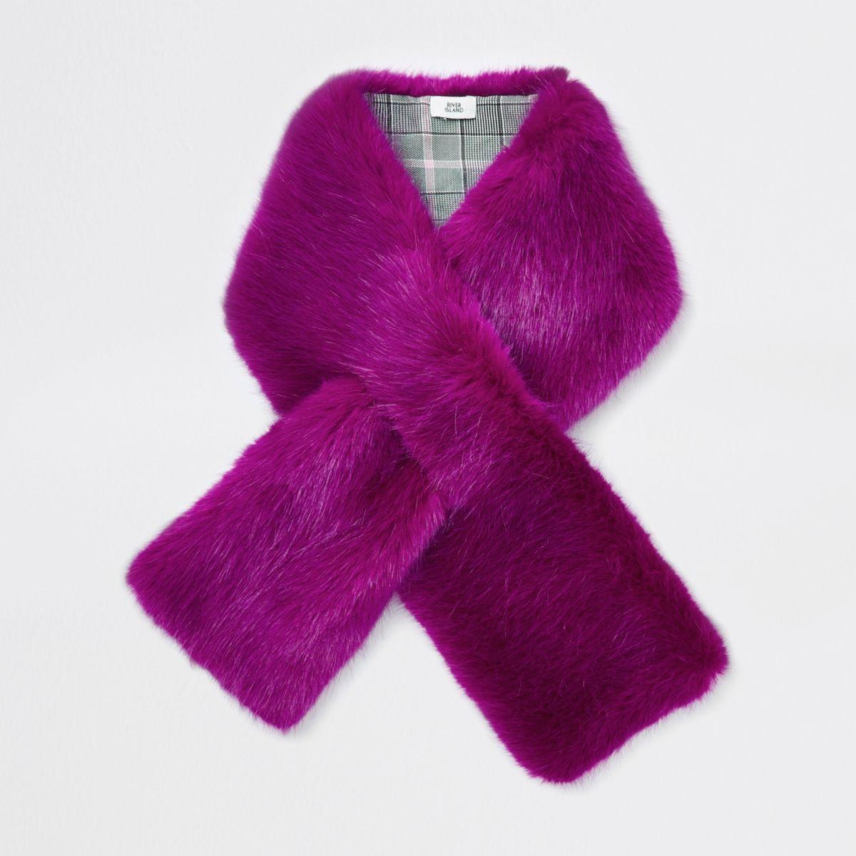 Bright pink faux fur shawl scarf