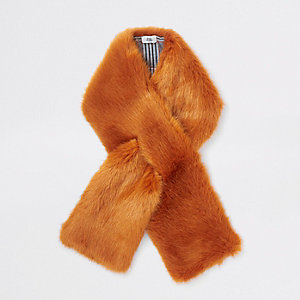 Orange faux fur shawl scarf