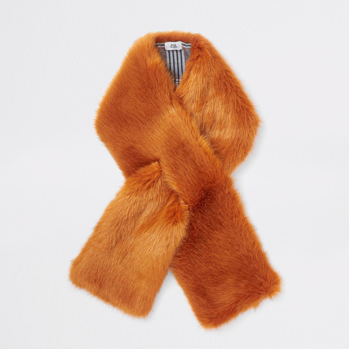 Orange faux fur shawl scarf