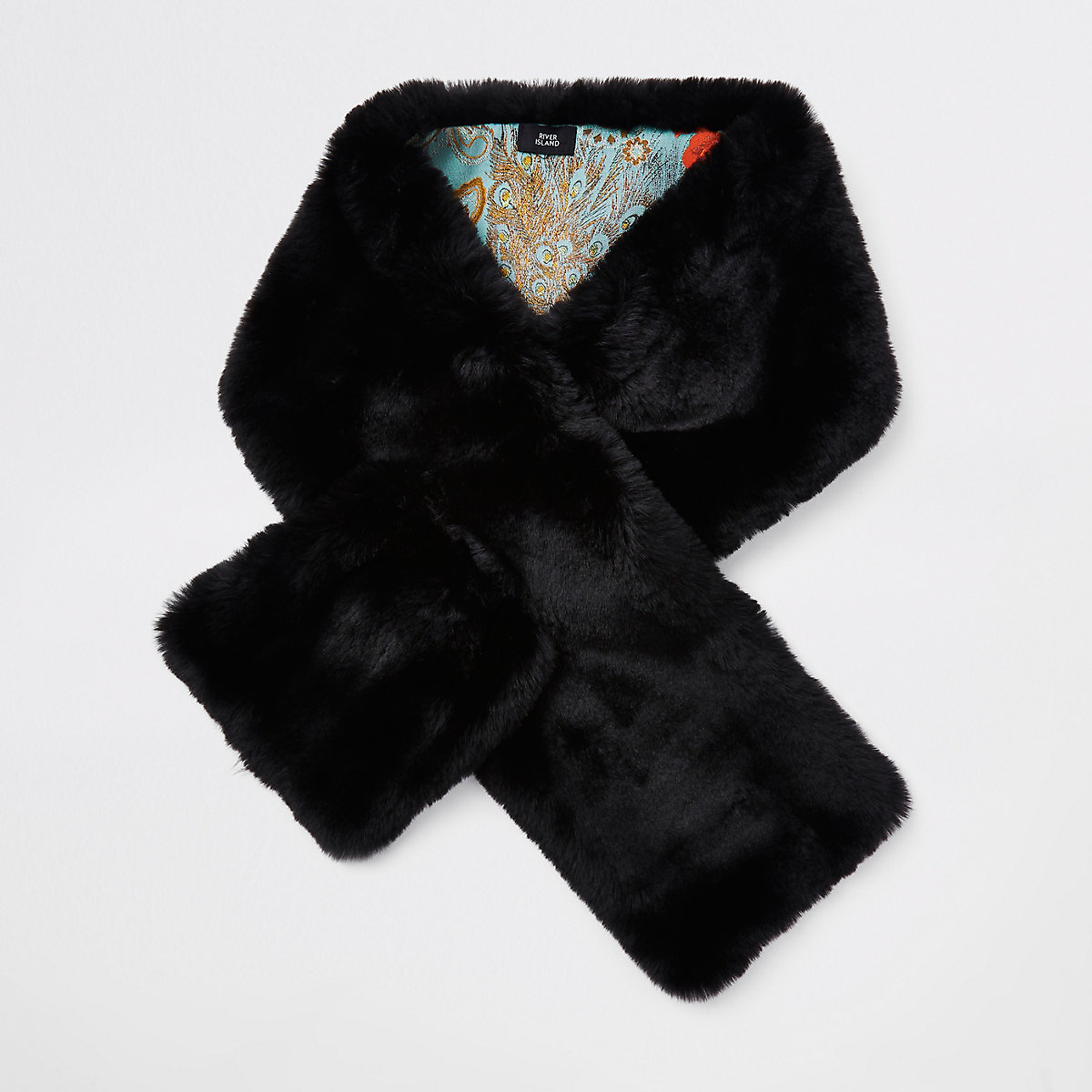 Black faux fur shawl scarf