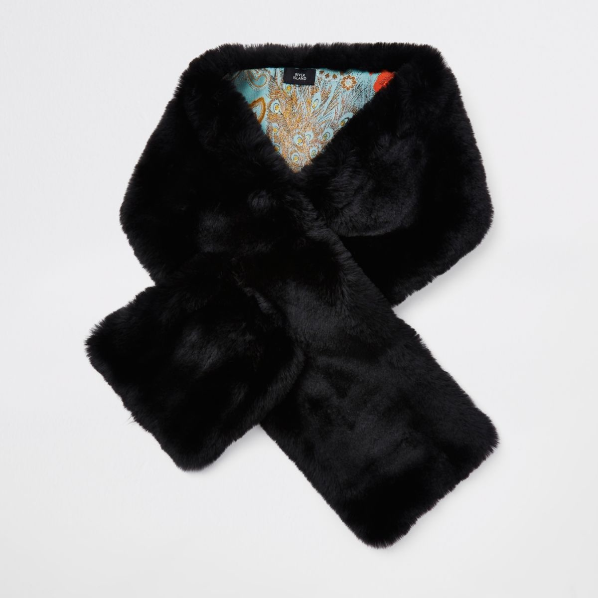 Black faux fur shawl scarf