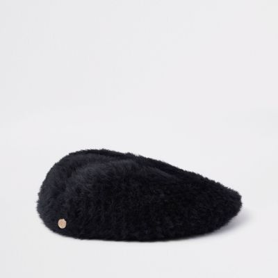 Black Faux Fur Fluffy Beret by River Island