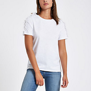 White rhinestone frill shoulder T-shirt