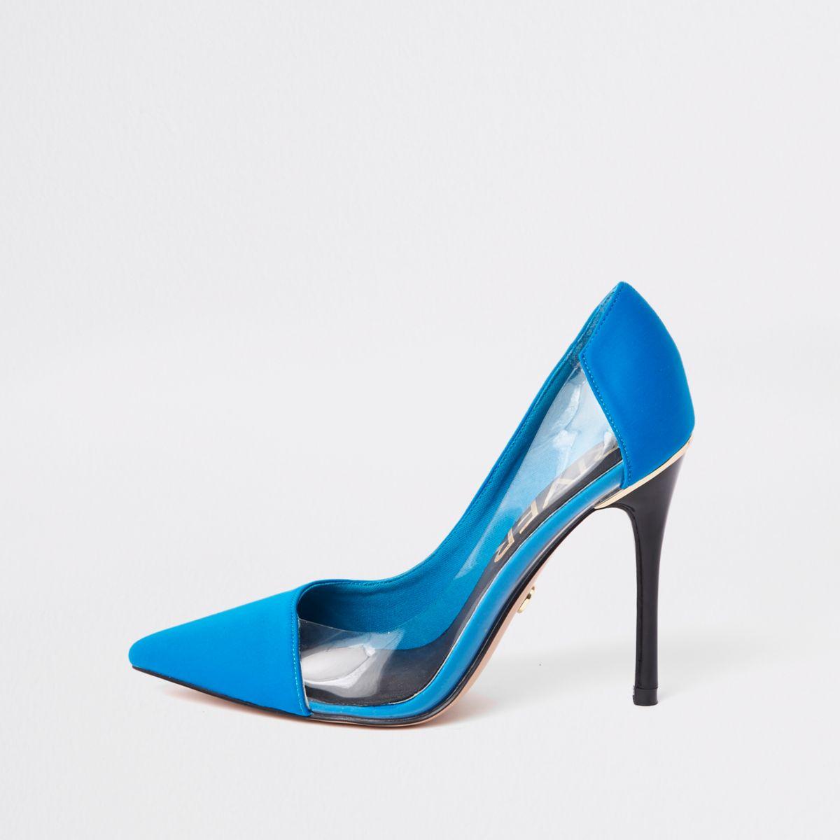 Blauwe pumps met perspex zijkant