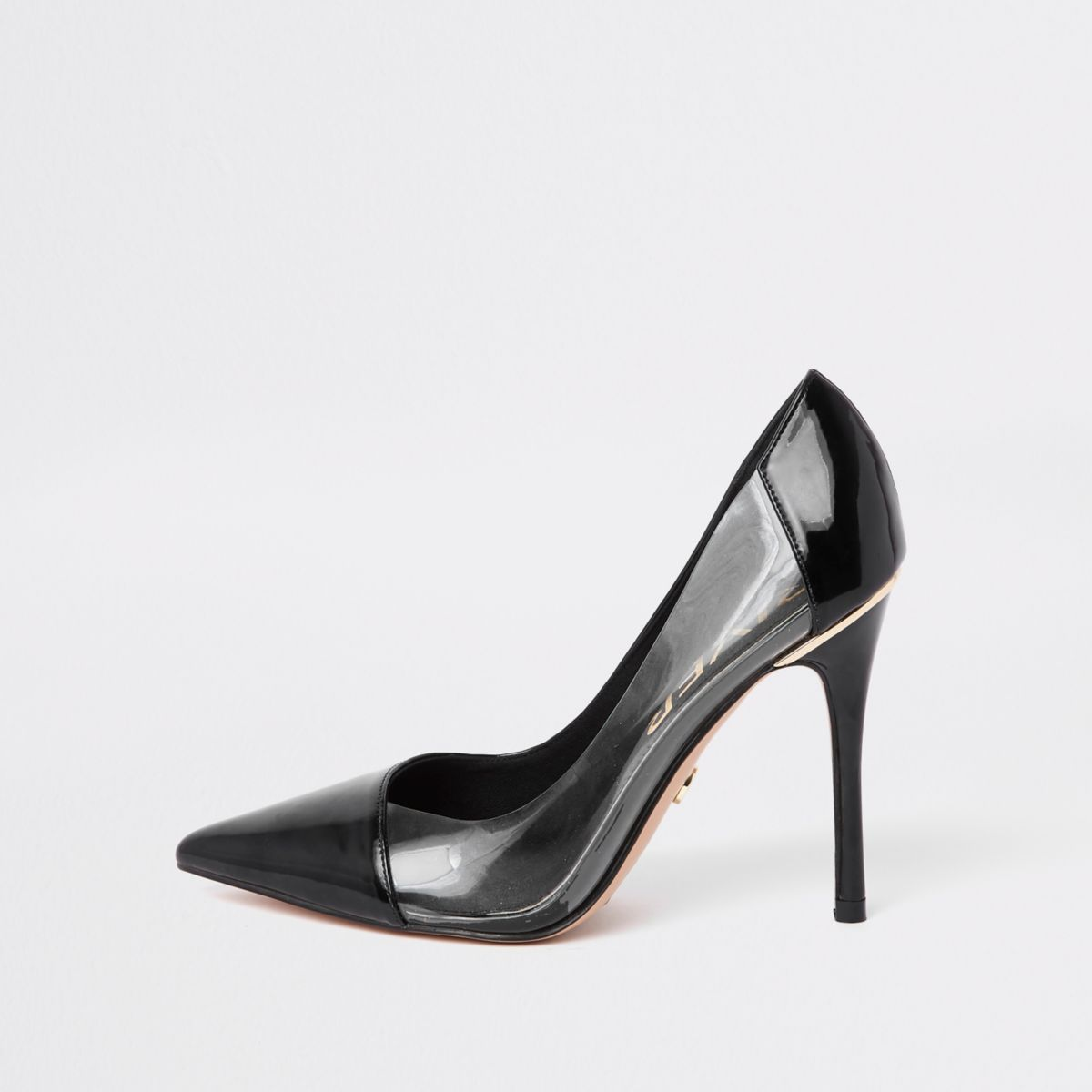 Black perspex side pumps