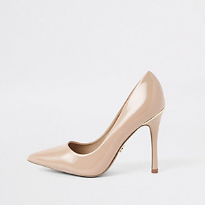 Pink patent stiletto heel court shoes