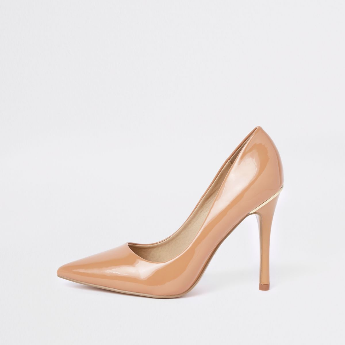 Beige honey patent pointed court shoes