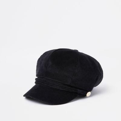 Black Cord Baker Boy Hat by River Island