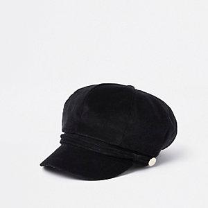 Black cord baker boy hat